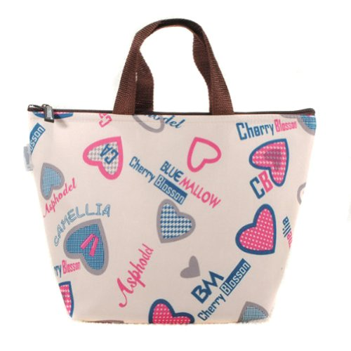1 X Waterproof Picnic Lunch Bag Tote Insulated Cooler Travel Zipper Organizer Box,Love Heart - 1