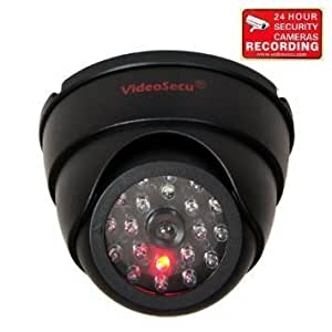 VideoSecu Dummy Fake Security Camera Simulated Infrared IR LED Fake Dome Camera with Blinking Light CCTV Surveillance,Security Warning Sticker AA3