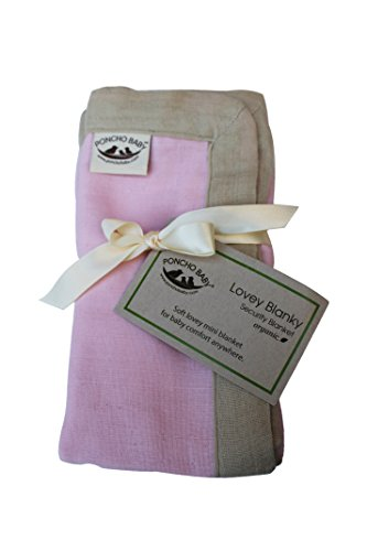 Poncho Baby Organic Security Blanket, Lovey Blanky, Pink/Beige