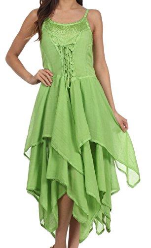 Sakkas 9031 Lady Mary Jacquard Bodice Handkerchief Hem Dress - Spring Green - One Size front-206627