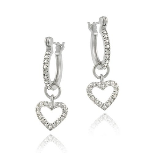 Sterling Silver Diamond Accent Open Heart Dangle Hoop Earrings