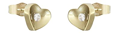 Hobra GOLD HEART STUD EARRINGS 14 CARAT 585 GOLD / CUBIC ZIRCONIA HEART EARRINGS MALE GOLD HEART