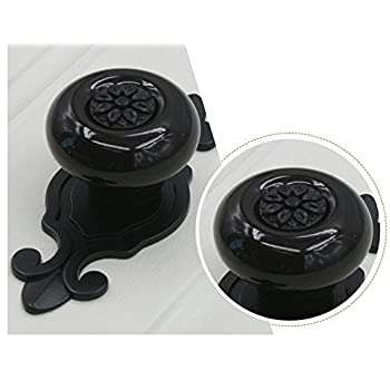 gloednApple 5 pcs Vintage Ceramic Knobs Pulls Handles for Cabinet Drawer Closet Dresser Cupboard Wardrobe Furniture Door Kitchen (Black-Bronze)