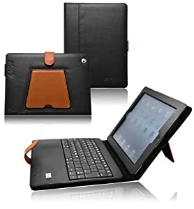 Ionic Bluetooth Keyboard Tablet Stand Leather Case For Apple iPad 2, iPad 3, iPad 4, iPad 2nd, iPad 3rd, iPad 4th Generation Tablet AT&T Verizon 4G LTE (WhiteRed) by CrazyOnDigital LLC