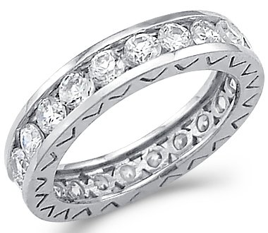 Size- 6 - Solid 14k White Gold Eternity Wedding Round CZ Cubic Zirconia Band Ring Size 5, 6, 7, or 8