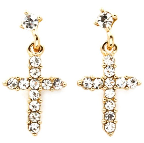 Adorable Small Clear Crystal Embellished Cross Drop Dangle Earrings Gold Plating