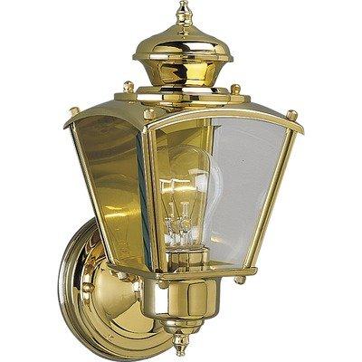 Progress Lighting P5606-10 Wall Lantern with Clear Beveled Glass Panels, Polished Brass