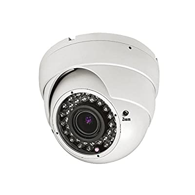 "101AV 1/3"" High Sensitivity Image Sensor 800TVL Dome Security Camera 2.8-12mm Varifocal Lens 100ft IR Range 36pcs Infrared LEDs Weather/Vandal proof Metal Housing Color Wide Angle View D/N Vision for CCTV DVR Home Office Surveillance System Indoor Outdoor"