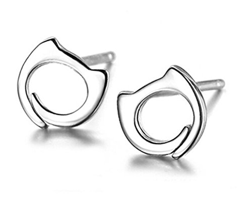 omos-women-fashion-jewelry-925-sterling-silver-upscale-temperament-cat-stud-earrings-prevent-allergy