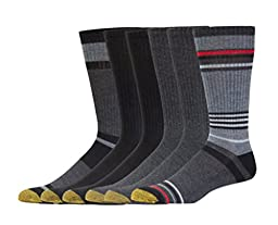 Gold Toe Men\'s Cotton Crew Athletic Sock, Black Assorted, 6-Pack Sock Size 10-13