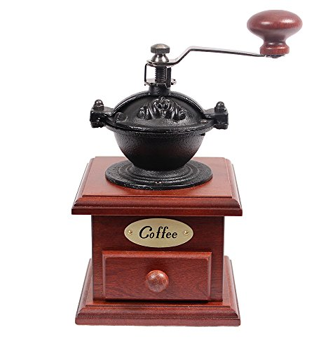Manual Cast Iron Coffee Bean Grinder with Drawer
