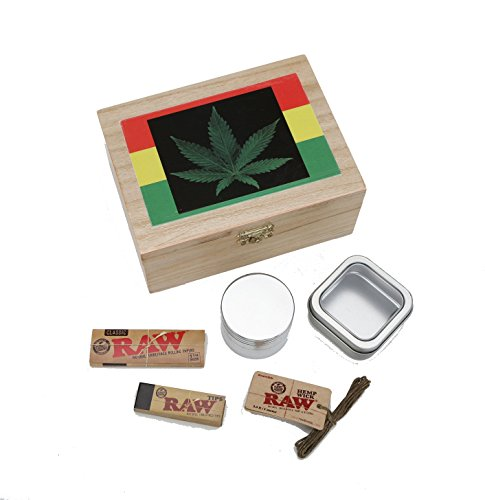 Rasta Leaf Tobacco Box Stash Box! 6 Pc. Raw Rolling Kit Includes Raw Rolling Papers, Raw Filter Tips, Raw Hemp Wick, Airtight Glass Jar and 4 Pc. Metal Grinder (Smokers Box Marijuana compare prices)