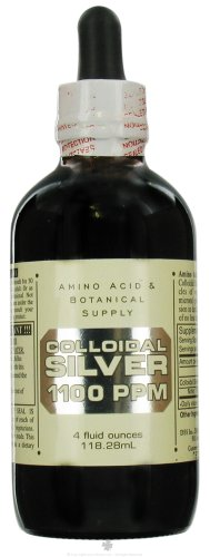Amino Acid & Botanical Supply Silver Colloidal 1100 ppm Liquid 4 oz, 2 pack (image may vary)