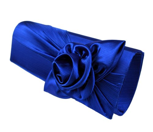 Mimi & Thomas Designer Royal Blue Rose Corsage Silk & Satin Evening Clutch handbag with Dust Bag