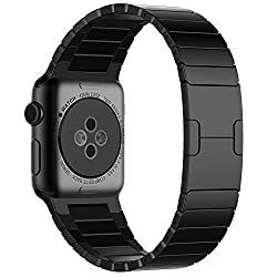 JETech 2219 42mm Stainless Steel Black Link Bracelet Replacement Apple Watch Band
