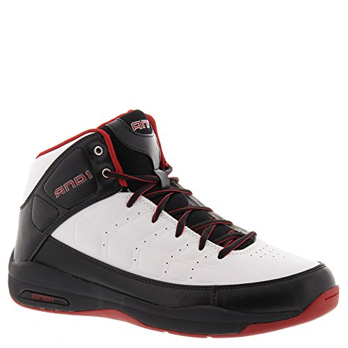 AND1 Men's Coach Mid Sneaker,White/Black/V-Red,US 9.5 M