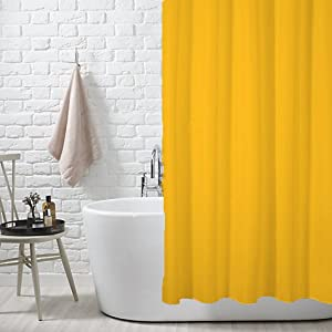 Fabric Shower Curtain Liner With Metal Grommets Yellow
