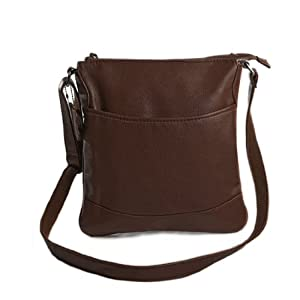 Rosallini Mens 2012 Korea Fashion Faux Leather Shoulder Bag Coffee Color
