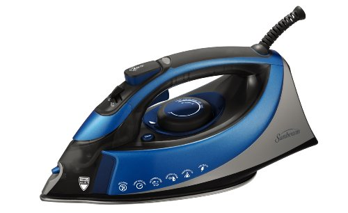Sunbeam Turbo Steam 1500 Watt XL-make an estimate of Anti-Drip Non-Stick Soleplate Iron with Shot of Steam/Vertical Shot feature and 10' 360-degree Swivel Cord, Wan/Blue, GCSBCS-200-000