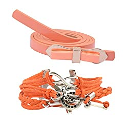 Diovanni Combo of Orange Color Bracelet and Belt For Womens