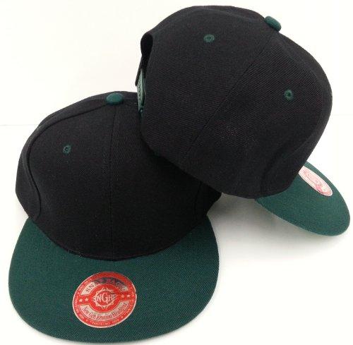 98c0379738de1 New Plain Snapback Baseball Caps Flatbill Two Tone Black Dark Green Bill.  by new generation headgear