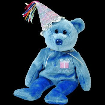 41gIf2P7t5L Cheap Buy  September Birthday / Sapphire Birthstone Beanie Baby Bear with Party Hat