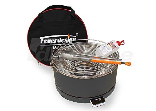 Holzkohle Tischgrill MAYON – Rauchfrei – v. Feuerdesign – Grau, im Spar Pack mit Grill-Zubehör günstig bestellen