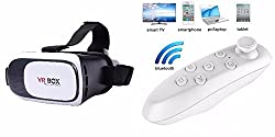 VR Box 2nd Generation Enhanced Version Virtual Augmented Reality Cardboard 3D Video Glasses Headset with Smart Bluetooth Wireless Remote Control / Mini Gamepad / Selfie Shutter for 3.5~6 Inch Screen Compatible with LG Optimus 2X