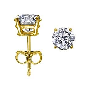 14K Yellow Gold Round Diamond Stud Earrings (1 ct, J-K, I1-I2) 14K Yellow Gold Round Diamond Stud E