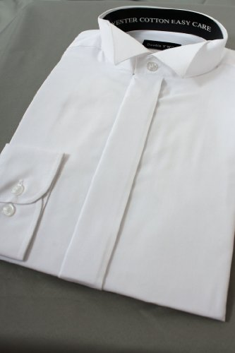 Fly Fronted Wing Collar Dress Shirt From Double Two 23inch Neck, White