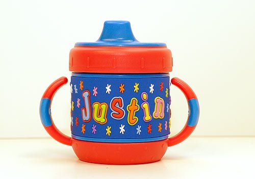 Personalized Sippy Cup: Justin front-281002