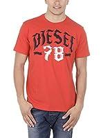 Diesel Camiseta Manga Corta T-Lonad (Rojo)