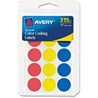 Avery 6167 0.75 Inches Round Assorted Color-Coding Labels (315-Count)