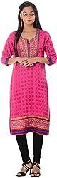 Kaashvi Creations Women's Cotton Straight Kurta (99901000000008-M, Pink, Medium)