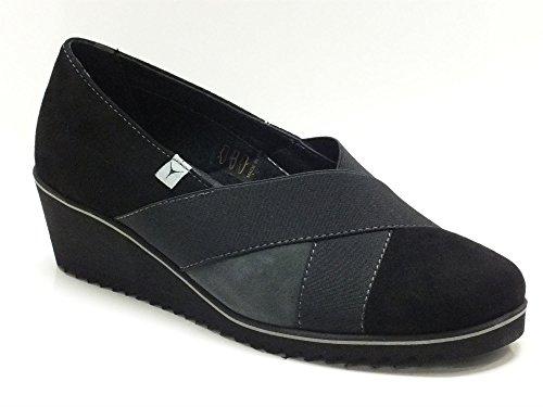 Decolleté Cinzia Soft per donna in camoscio nero con elastico (Taglia 36)