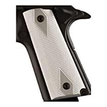 Hogue 1911 Government/Commander 3/16 Thin Grips Aluminum Checkered Brushed Gloss Clear