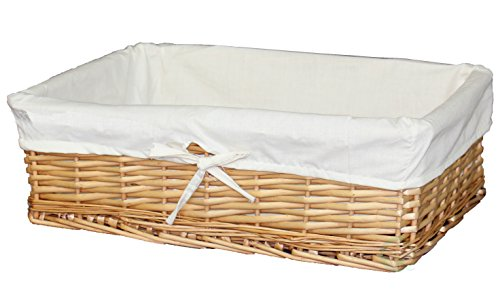 Vintiquewise Large Willow Basket with Fabric Lining (1 Large Basket) (Lined Bread Baskets compare prices)