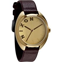 Nixon The Wit Gold Dial Gold-Tone Stainless Steel Brown Leather Ladies Watch A318-1112