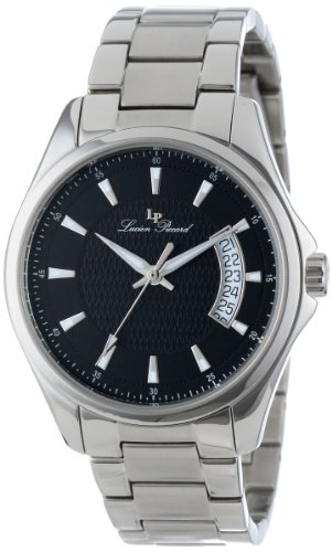 Lucien Piccard Men's 98660-11 Excalibur Black Textured Dial Stainless Steel Watch
