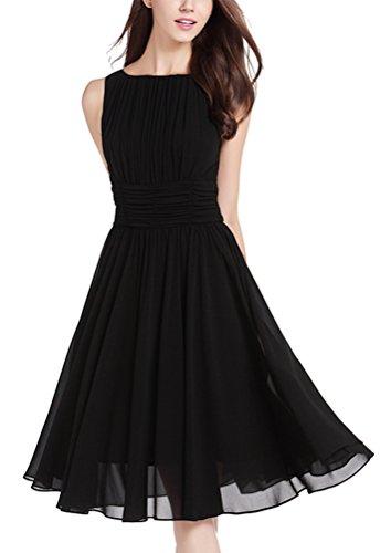 MILEEO Damen Chiffon Kleid Knielang mit Plissee-Falten Ärmellos Cocktailkleid Elegant Schwarz Rot