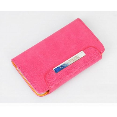 Flip Holster Leather Wallet Case For Iphone 5 5S - Pink