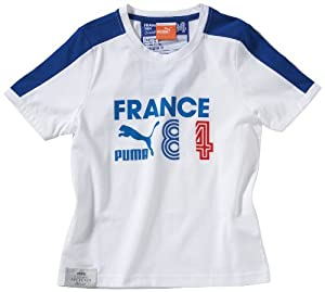 PUMA Children's T-Shirt with Football Archives T7 Ringer Motif white-france Size:152
