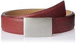 Parx Men's Leather Belt (8903804177492_90_Dark Red)