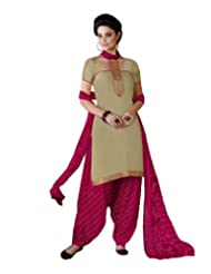 Desi Look Women's Beige Cotton Dress Material With Dupatta