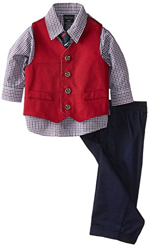 Nautica Baby-Boys Infant Twill Vest Set, Red, 24 Months front-1068994