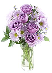 Purple Passion Daisy & Rose Bouquet - With Vase