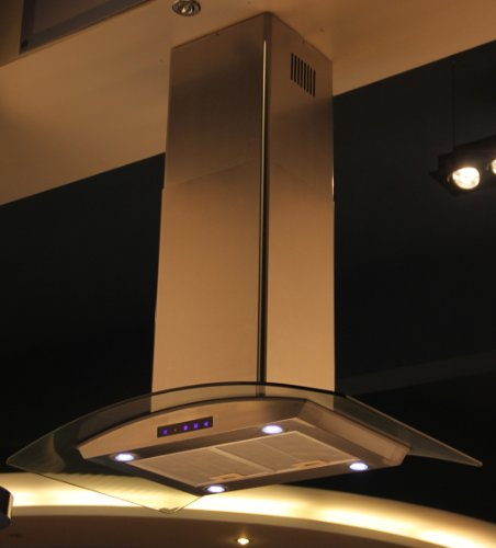 Kitchen Bath Collection 36-Inch Island-Mounted Stainless Steel Range Hood With Arched Tempered Glass, Seamless Chimney & Touch Screen Control Panel