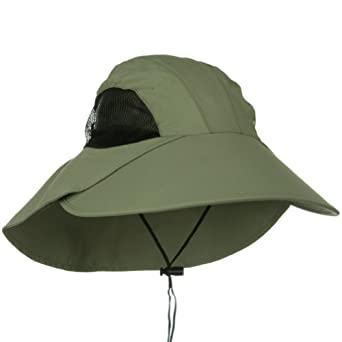 JUNIPER Olive 5 Panel Lg Bill Cap with Sun Protection Flap