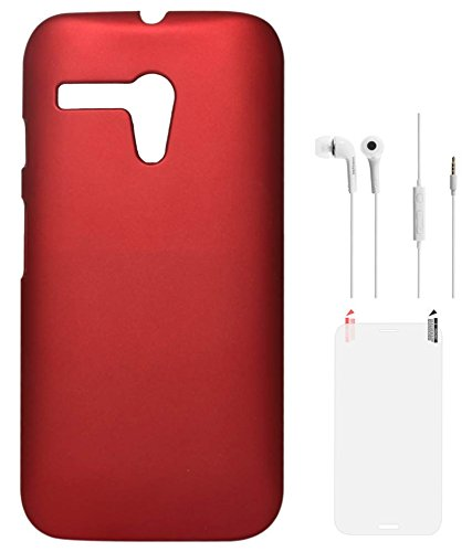 DMG Hard Back Protective Cover Case for Motorola Moto G XT1032 (Red) + Samsung White Earphones + Matte Screen