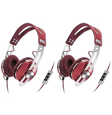 (2) Sennheiser Momentum Closed On-Ear iPod iPhone DJ Headphones w/ Case | Red
